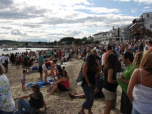 Crowd watching man on greasy pole, courtesy of wikipedia