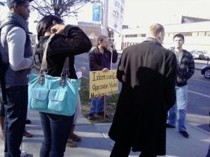 Asswipes protesting on Waverly Avenue in Syracuse