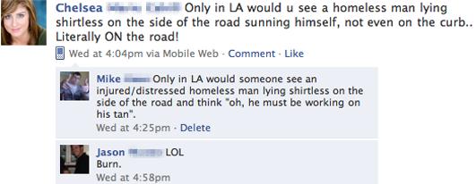 facebook fail homeless person in LA