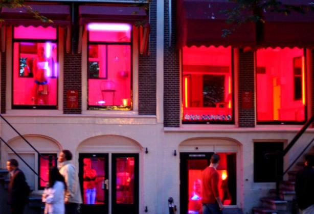 The famous Red Light District in Amsterdam.